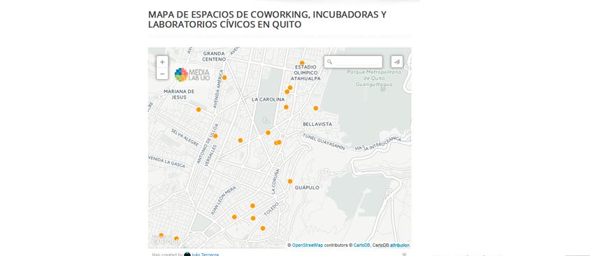 Mapa de espacios de Coworking, Incubadoras y Laboratorios Cívicos en Quito