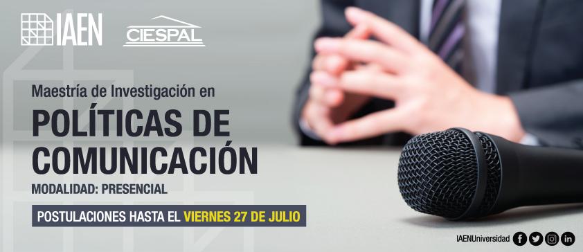 IAEN y CIESPAL convocan a la tercera edición de la Maestría de Investigación en Políticas de Comunicación con mención en Desarrollo Social