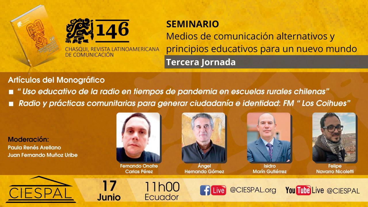 Tercera Jornada | Seminario: Medios de comunicación alternativos y principios educativos para un nuevo mundo